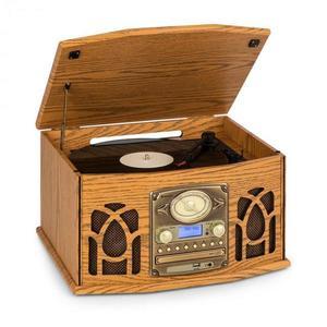 Auna NR-620, DAB, sistem stereo, lemn, gramofon, DAB+, CD player, maro imagine