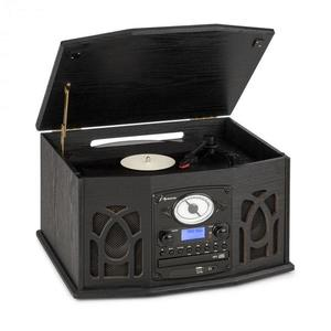 Auna NR-620, DAB, sistem stereo, lemn, gramofon, DAB+, CD player, negru imagine