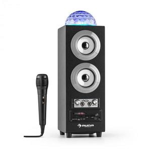 Auna Discostar argintiuportabil 2.1 Bluetooth Speaker USB SD FM AUX LED Jelly Ball baterie portabila incl. Microfon imagine