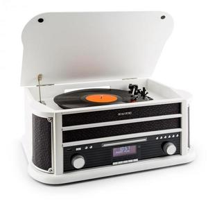 Auna Belle Epoque 1908 DAB retro stereo placă turnantă DAB + Bluetooth FM USB MP3 CD Phono MC alb imagine
