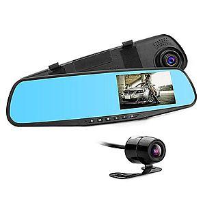 Camera Video Auto Discreta tip Oglinda cu Doua Camere Full HD Fata/Spate Techstar® L9000, Model Slim 9mm Grosime imagine