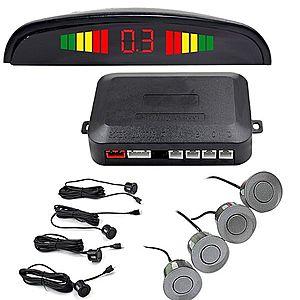 Set Senzori Parcare Auto Detector Parktronic Display Radar Monitor 4 Senzori GRI Inchis imagine