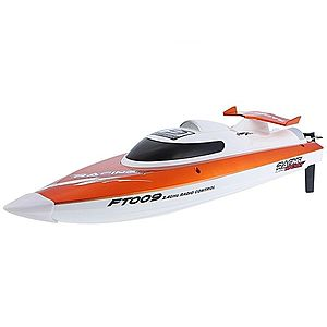 Barca cu telecomanda iUni FT009 Top Speed Racing Flipped Boat, Portocaliu imagine