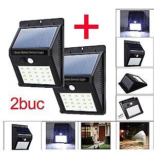Set 2 bucati Lampa cu LED Incarcare Solara si Senzori de Miscare 20 Leduri imagine