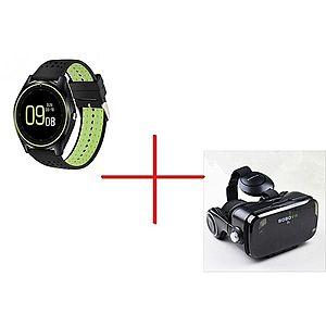 Set Promo Ochelari Virtuali VR-Z4 + Smartwatch MTK V9 Verde BT Camera imagine