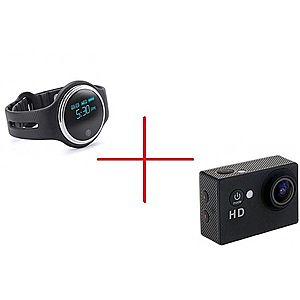 Set Promo Camera Xsports Sj5000 + Smartband Sport E07 Negru imagine