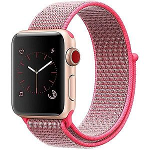 Curea pentru Apple Watch 38 mm iUni Woven Strap, Nylon Sport, Pink imagine