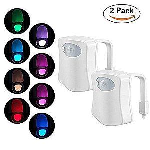 Pachet Promo 2 x Senzor LED Pentru Capac Toaleta MultiColor cu Senzor de Miscare imagine