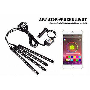 Benzi Led Auto MultiColore RGB 12 Leduri x 4 Bucati Control Aplicatie Android imagine