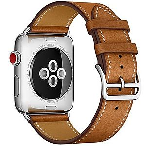 Curea pentru Apple Watch 40mm piele iUni Single Tour Maro imagine
