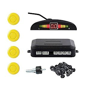 Set Senzori Parcare Auto Detector Parktronic Display Radar Monitor 4 Senzori Galben imagine