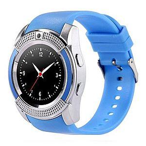 Ceas Smartwatch V8 Albastru HandsFree Bluetooth 3.0 Micro SIM Android Camera 1.3MP imagine
