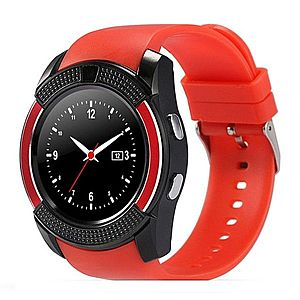 Ceas Smartwatch V8 Rosu HandsFree Bluetooth 3.0 Micro SIM Android Camera 1.3MP imagine