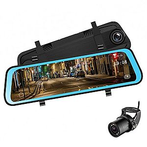 Camera Video Auto Premium Tip Oglinda Techstar® L606 Dubla FullHD, TouchScreen 10'', 12MPx, Unghi 170°, Mod Parking, G Sensor imagine