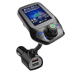 "Modulator Auto Transmitator FM Techstar® T43 Bluetooth 4.0 AUX USB QC3.0 Display Color 1.8"""" MP3 Player Android iOS imagine"