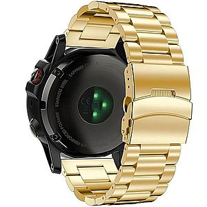 Curea ceas Smartwatch Garmin Fenix 3, 26 mm Otel inoxidabil iUni Gold imagine