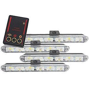 Set 4x6 Lumini LED Tip Stroboscop De Avertizare Flash Rosu si Albastru Alimentare 12V imagine