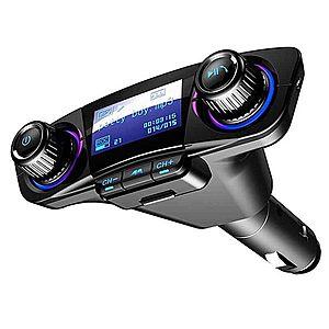Modulator Transmitator FM Auto Techstar®, BT-06 Bluetooth 5.0, MP3 Player cu dublu USB, MicroSD si Jack 3.5mm imagine