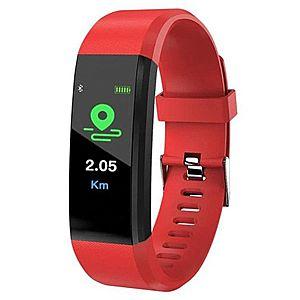 "Bratara Smart Fitness Techstar® ID115 Plus Fitness, 0, 95"""" OLED, BT4.0, Waterproof IP65, Rosu imagine"