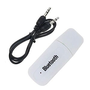 Receptor Audio Adaptor USB Techstar® A2DP cu Jack 3.5mm Transmitator AUX, Alb imagine