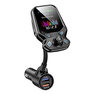 Modulator FM Techstar® T819 NEGRU , Quick Charge, AUX, Bluetooth, USB, Micro SD, Transmitator imagine