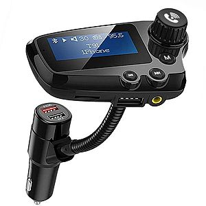Modulator FM Techstar® T91 NEGRU Quick Charge, AUX, Bluetooth, USB, Micro SD, Transmitator imagine
