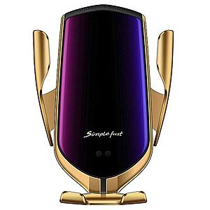 Suport auto cu incarcator wireless iUni R1, micro USB, functie Fast Charge, Gold imagine