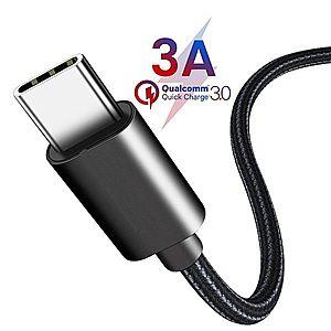Cablu USB Type C, incarcare rapida, transfer date, invelis de naylon impletit, 2 metri imagine
