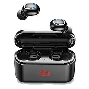 Casti Wireless Q32L TWS Techstar®, Bluetooth 5.0, Conectiune Instanta, Display, Waterproof IPX5, 1500mAh, Touch, Negru Lucios imagine