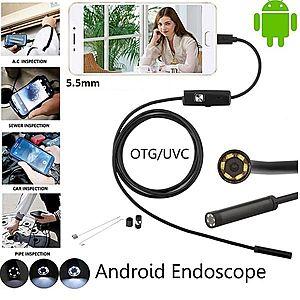 Camera endoscop sarpe, Cablu semitare, inspectie auto, tevi, pentru Android si PC, 6 Leduri, 1, 5m x 5.5mm imagine
