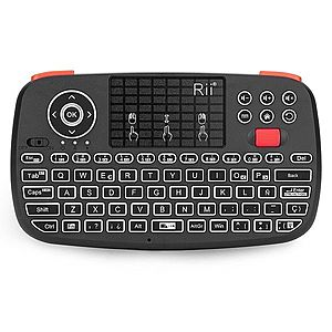 Tastatura Techstar® Rii i4, Dual Mode Wireless + Bluetooth, Scroll, TouchPad, Controller, Iluminata imagine