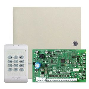 Centrala alarma antiefractie DSC PC 1404 cu tastatura PC1404RKZ si carcasa, 1 partitie, 4-8 zone, 39 utilizatori imagine