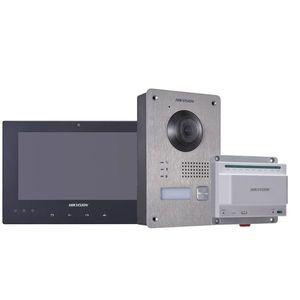 Kit videointerfon Hikvision DS-KIS701, touchscreen, 2 fire, 7 inch imagine