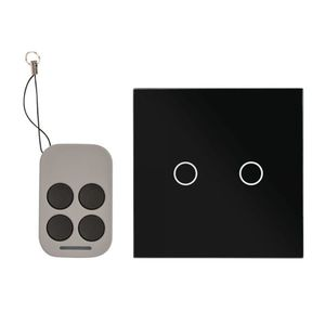 Intrerupator dublu cu actionare la atingere si telecomanda RF AJ-TSB-02-BK, 110-240 V, 100000 deschideri, 50/60 hz imagine