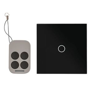 Intrerupator simplu cu actionare la atingere si telecomanda RF AJ-TSB-01-BK, 110-240 V, negru, 50/60 hz imagine