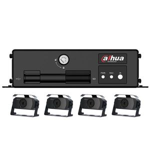 Kit supraveghere auto Dahua MXVR1004-GCW-HAC-HMW3100, 4 camere, 1 MP, IR 20 m, microfon, GPS, WiFi, 3G imagine