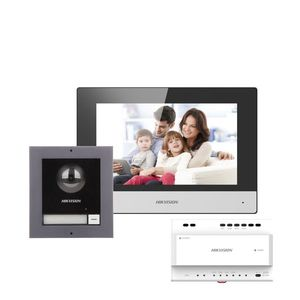 Kit videointerfon IP pe 2 fire Hikvision DS-KIS702, 1 familie, 2 MP, 7 inch, aparent imagine