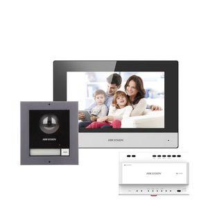 Kit videointerfon IP pe 2 fire Hikvision DS-KIS702, 1 familie, 2 MP, 7 inch, aparent imagine