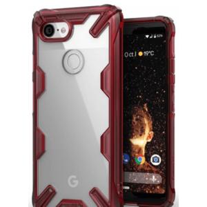 Protectie Spate Ringke Fusion X 8809628565067 pentru Google Pixel 3 (Transparent/Rosu) imagine
