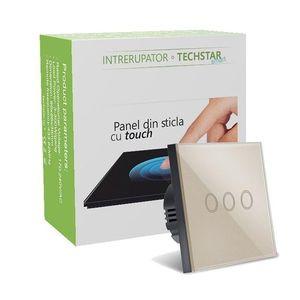 Intrerupator Smart Touch Techstar®, Wireless 2.4GHz, Sticla Securizata, Design Modern, Iluminare LED, 3 Faze, Gold imagine