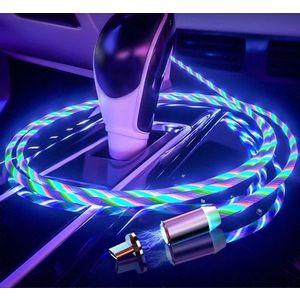 Cablu Incarcator magnetic pentru telefon cu 3 capete si cablu iluminat+cadou imagine
