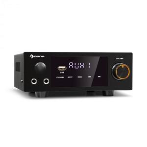 Auna AMP-2 DG, amplificator stereo HiFi, 2 x 50 W, RMS, BT / USB, intrare digitală optică și coaxială imagine