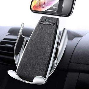 Suport Auto cu Incarcare Wireless -Smart Sensor Car Wireless Charger S5, Argintiu imagine
