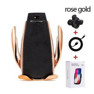 Suport Auto cu Incarcare Wireless -Smart Sensor Car Wireless Charger S5, Rose Gold imagine