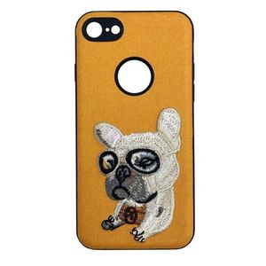 Protectie Spate Lemontti Embroidery Orange Puppy LECIPH7M5 pentru Apple iPhone 7, iPhone 8, iPhone SE 2020 (Portocaliu) imagine
