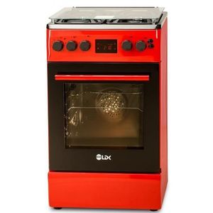 Aragaz LDK 5060 D ECAI RED FR LPG, Cuptor electric convectie, Display LCD touch, Aprindere, Termostat, Timer, 6 functii (Rosu) imagine