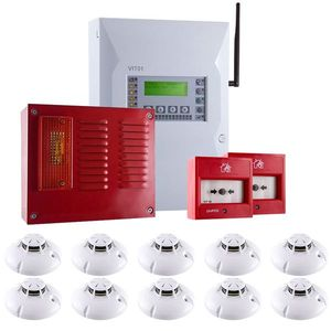 Sistem alarma antiincendiu wireless UniPOS KIT-UP10W, 15 zone, 20-32 dispozitive, 10 detectori imagine