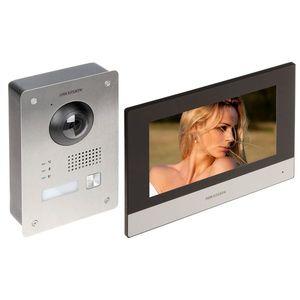 Kit videointerfon IP pe 2 fire Hikvision DS-KIS703-P-D, 1 familie, 2 MP, IR 3 m, 7 inch, aparent/ingropat imagine