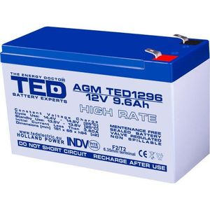 Acumulator TED AGM VRLA 12V 9 6A imagine