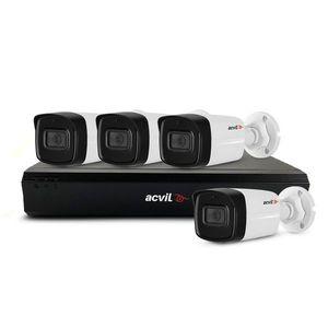 Sistem supraveghere exterior basic Acvil Pro ACV-B4EXT80-2MP-A-V2, 4 camere, 2 MP, IR 80 m, 3.6 mm, audio prin coaxial, PoS, microfon imagine